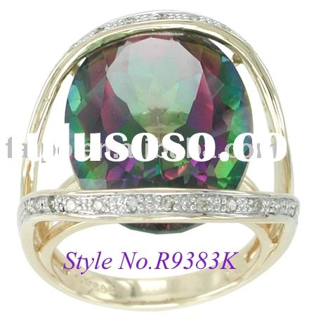 MYSTIC TOPAZ RING W/Diamond 10k/14k/18k yellow/white/pink gold ring