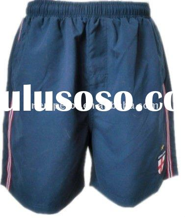 Men's navy color peach skin board shorts with elastic waistband