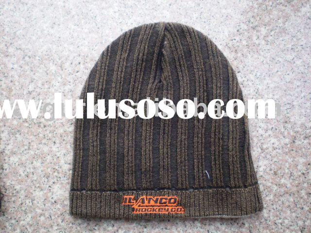 Mens knitted beanie hat with embroidery