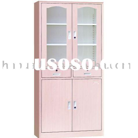 Metal locker cabinet with 2 drawers and glass doors