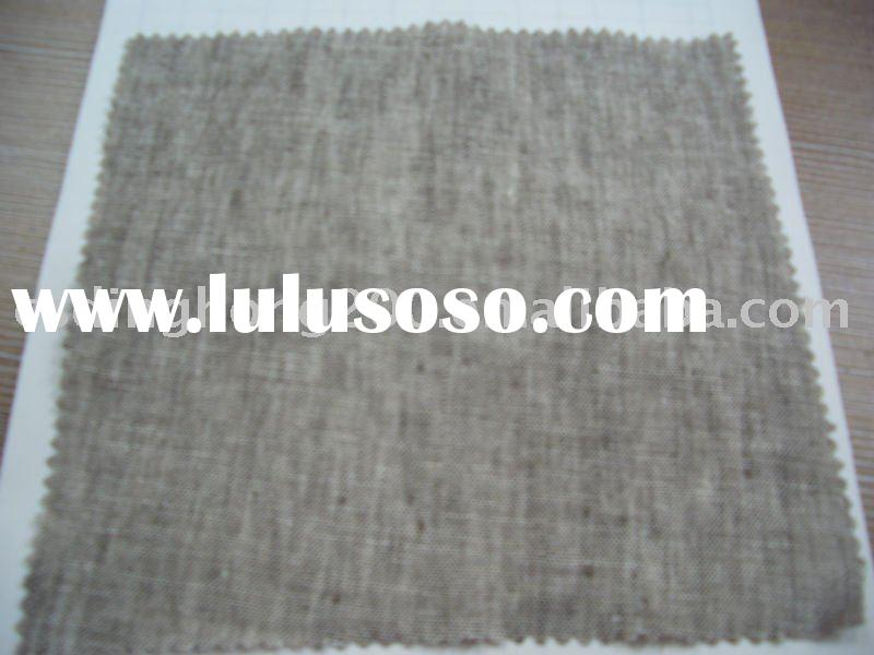 NEW 9*9 100% Linen Yarn Dyed khaki Solid Chambray Fabric for Business Suit