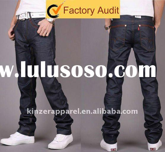 NEW fashion men's jeans brands with resin coated fabric