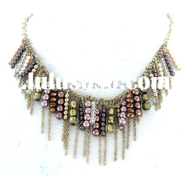 New arrival pearl necklace costume jewelry with thin chain