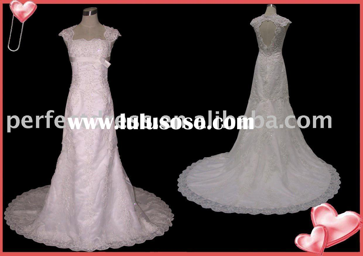 New style cap sleeve open back wedding dress 2011