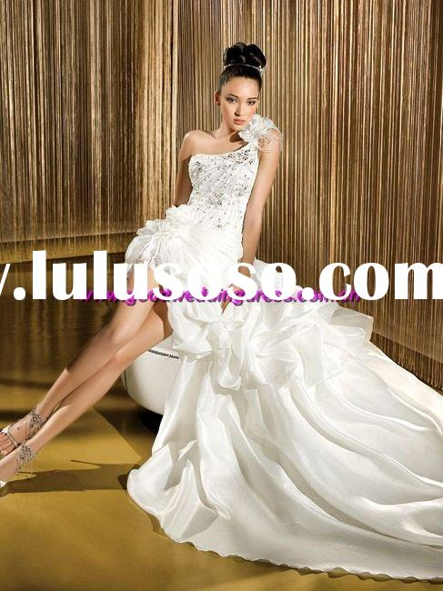 New style hot sale silk hand made one-shoulder beaded front short long back wedding dresses
