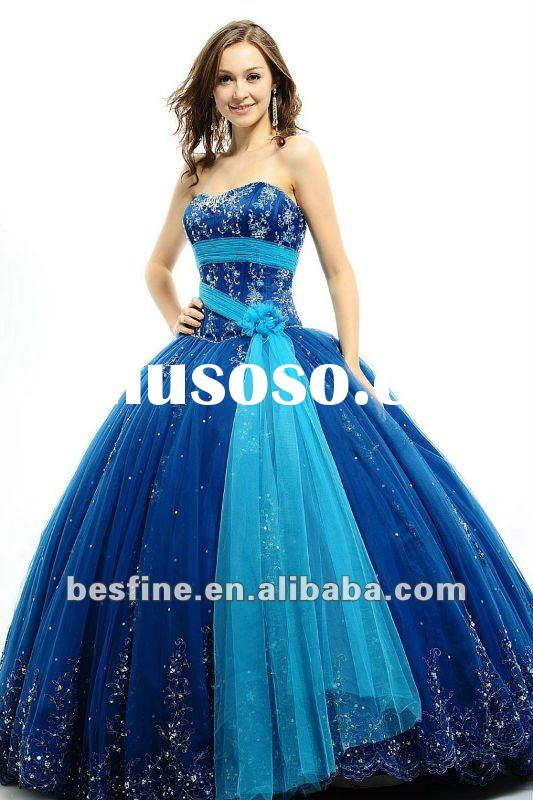 No.3106 sweetheart with tulle and satin fabric blue ball gown 2012 prom dresses