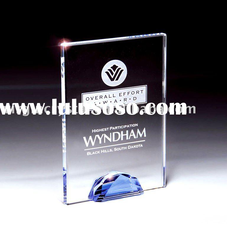 Optical Crystal Blue Stone Rectangle Plaque Award