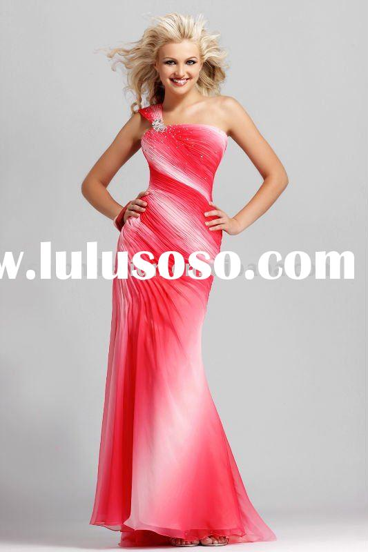 P061 2010 one shoulder fuschia Ombre printed chiffon prom dresses