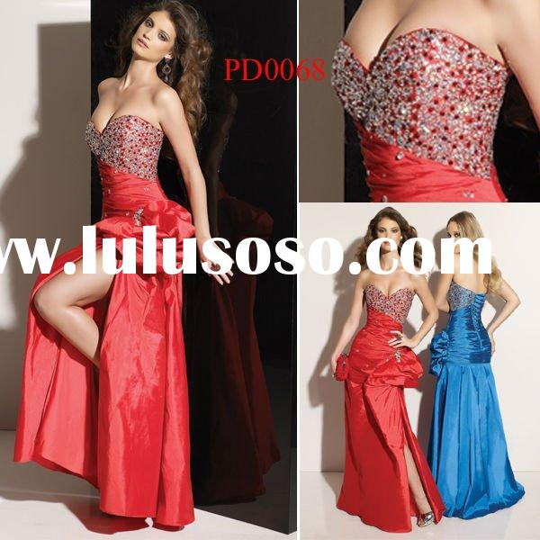 PD0068 Red Beaded Long Side Open High Quality Cheap Prom Dresses 2012
