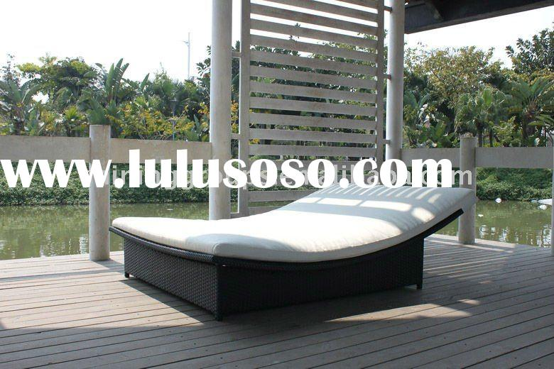 PE(plastic) FLAT/ROUND RATTAN/WICKER LEISURE LOUNGE /SUN BED/WITH CUSHION OUTDOOR AND GARDEN