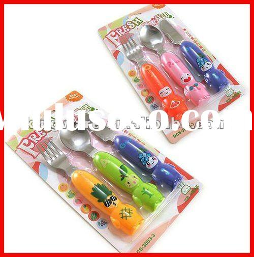 Plastic handle for 18/0 or 18/8 Stainless steel children cutlery set