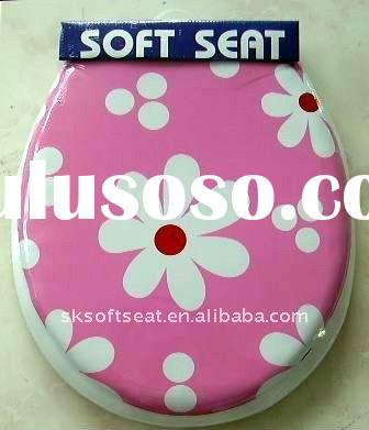 Printed Elongated Soft Toilet Seat with Cover