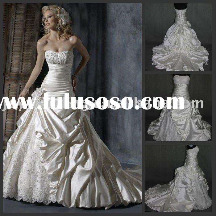 R0353 Free shipping bestbridalprice real sample applique beaded satin Ball A-line Wedding Gown