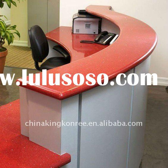 Red perfect design artificial quartz stone reception desk table top