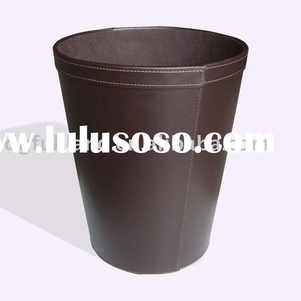 Round Faux Leather Waste Basket Brown