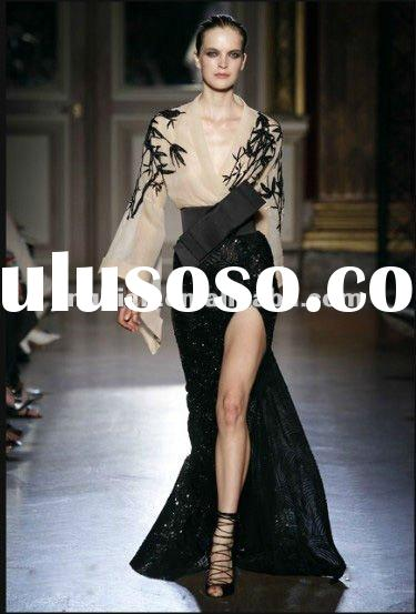 SD 1530 long sleeve sequin dress fashion vening dress by zuhair murad long dresses high slit