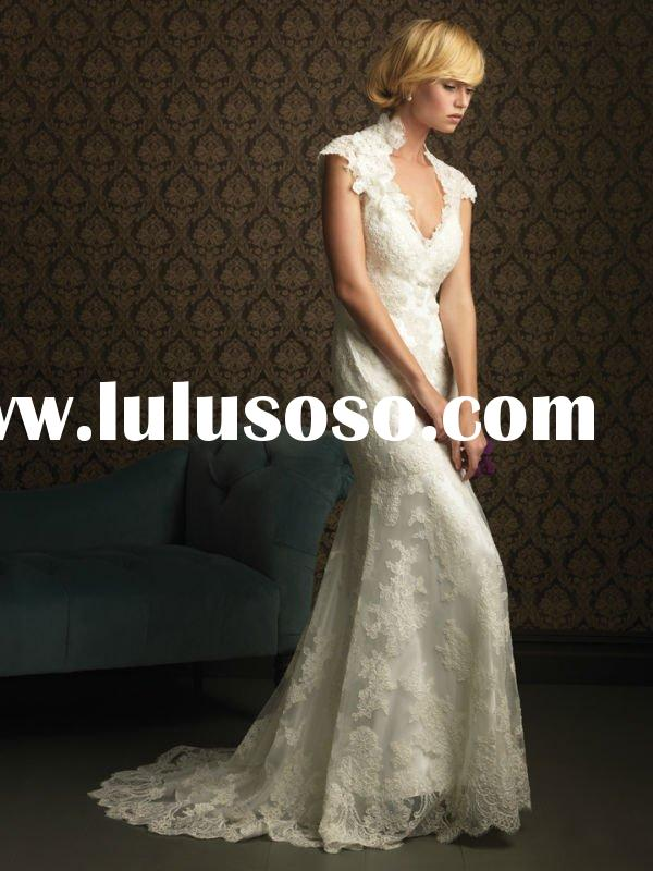 Short sleeve lace open back wedding dress SC0820