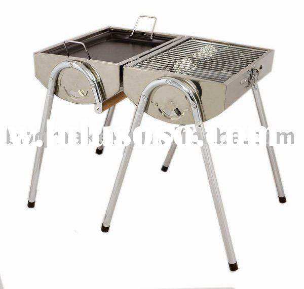 Stainless steel double barrel charcoal BBQ grill