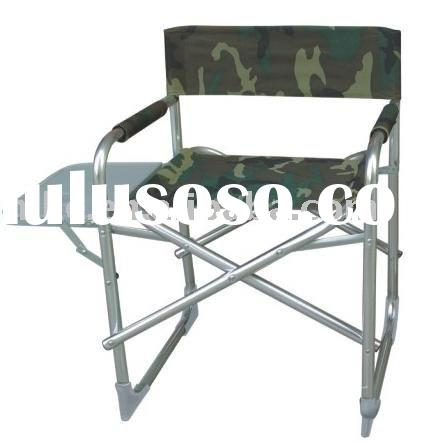 Steel folding director chair with a side table