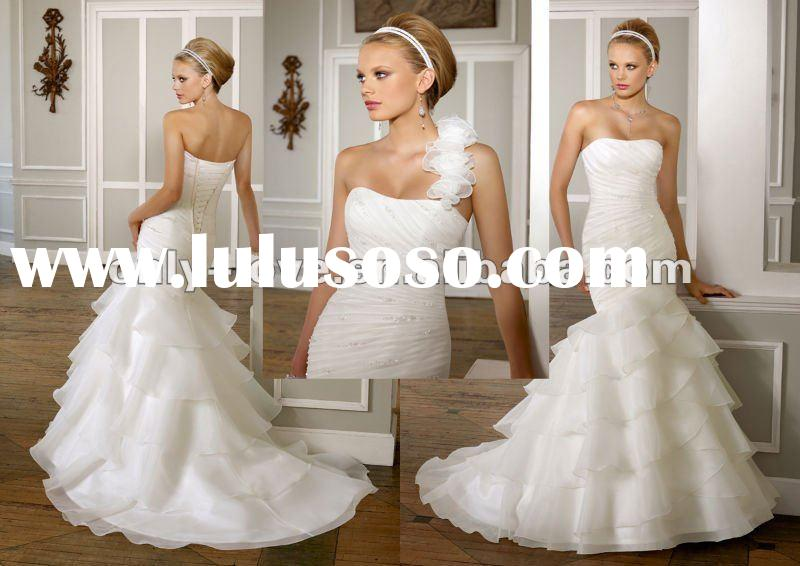 Strapless Organza removable straps Tiered tulle skirt lace-up back sweep train mermaid wedding dress