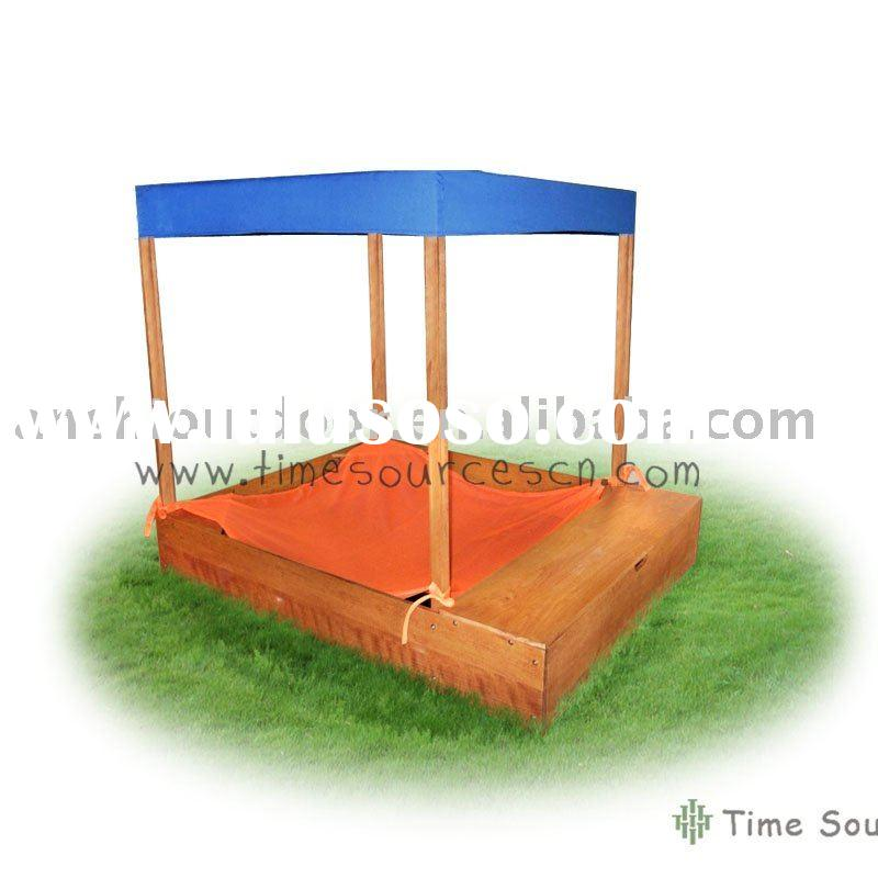 TSOP10025-2 Sand box with storage and shade cloth Wooden sandboxes Garden sandbox Outdoor sandbox