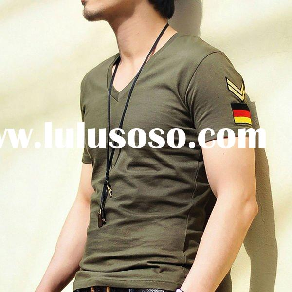 V-neck fit casual mens t shirt clothing wholesaler