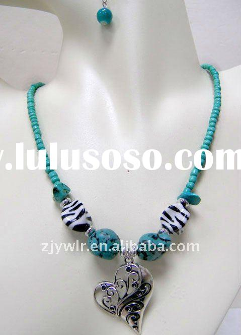 WHOLESALE HEART BEAD COSTUME JEWELRY NECKLACE EARRING SET