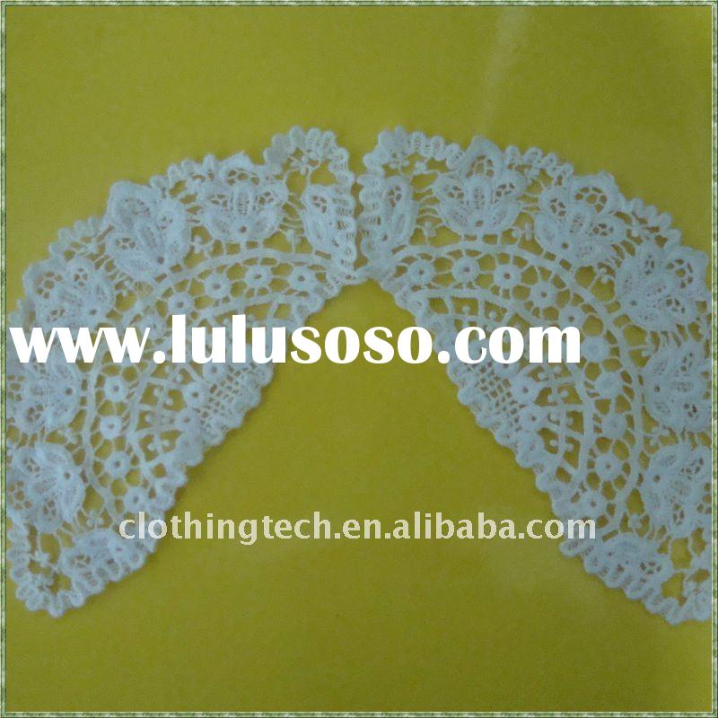 White cotton lace embroidery fabric collar motif