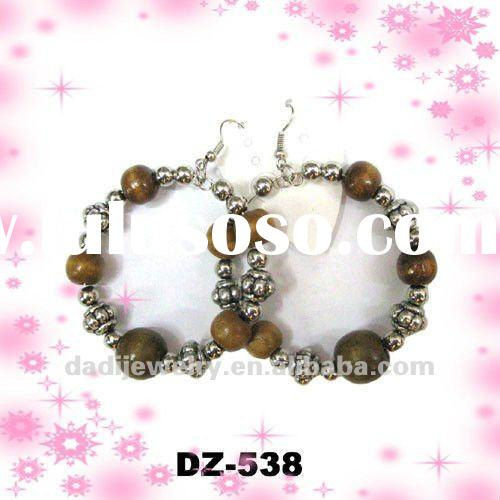 Wholesale wood beads hoop Earrings for women