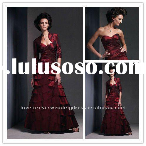 Wine Red Beaded Formal Bride Mother Dresses