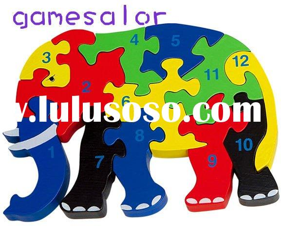 Wooden Elephant Jigsaw Puzzle Kids numeral Learning Kit#2000