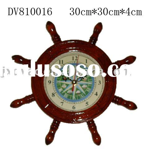 Wooden ship wheel with clock/wall clock/home decoration