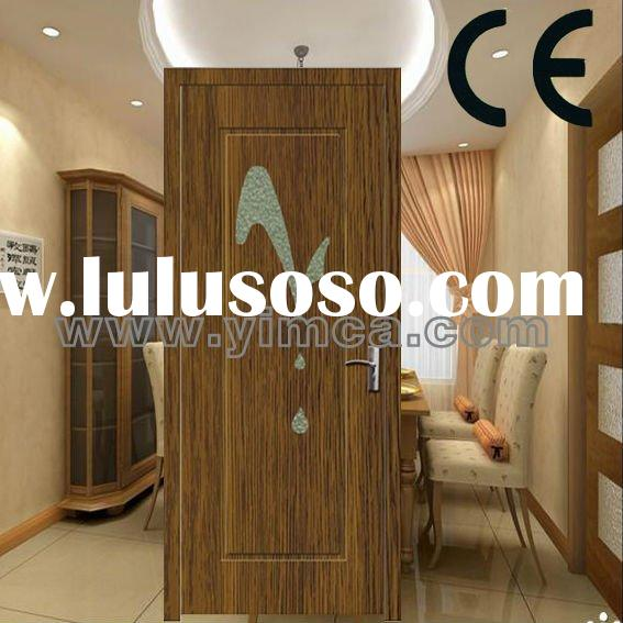 YIMCA wood panel door design with diamond glass