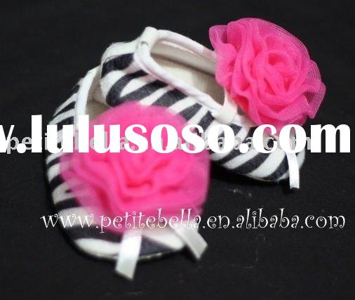Zebra Print Shoes with Hot Pink Rosettes Pettishoes Crib Shoes MAS36