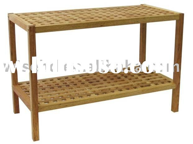 (W-B-W0001) solid wood shoe rack seating bench
