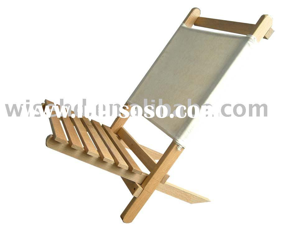 (W-C-F1510) wood KD deck chair