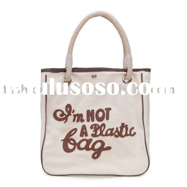 """i am not a plastic bag"" canvas shopping bag for promotional"