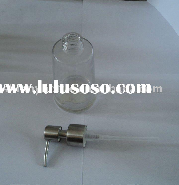 bath lotion glass bottle with metal pump spray