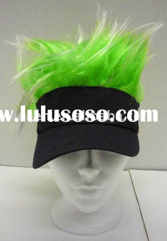 black visor hat with green fur for football fans