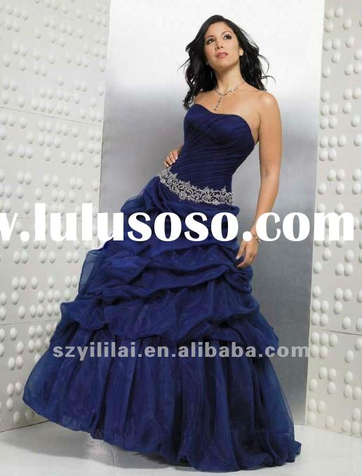 bule strapless taffeta appliqued ball gown evening dress