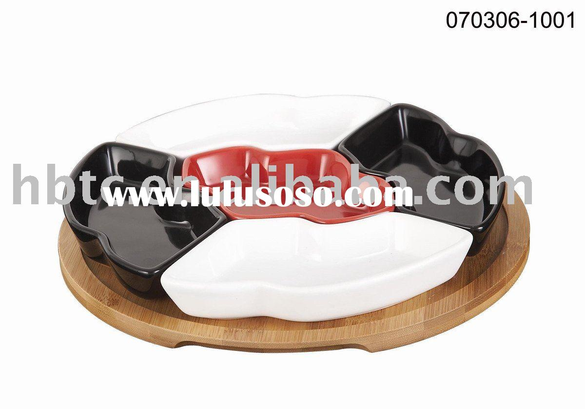 ceramic serving tray snack dish set