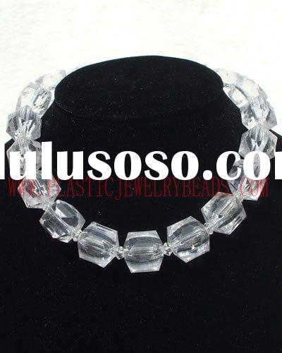 clear cube&bicone beads necklace, cube crystal acrylic beads, cube acrylic plastic beads