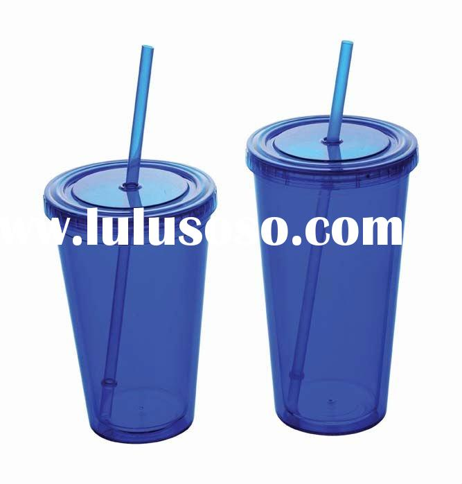 colorful Plastic tumbler with lid and straw