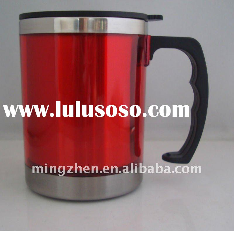 double wall plastic stainless steel office cup and mug MZ-PS048
