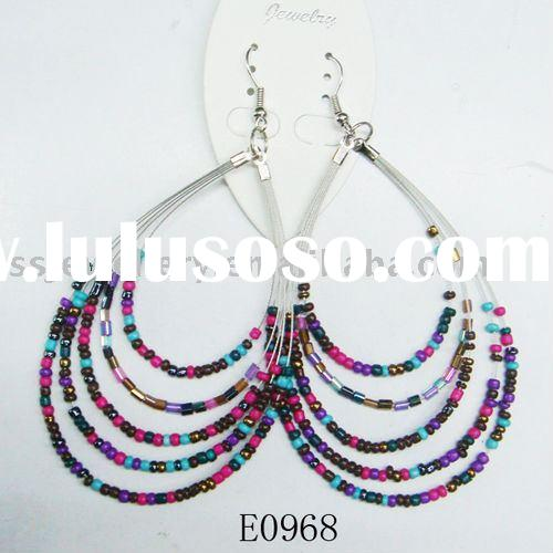 fashion colourful beaded earrings/cheap jewelry/seeds jewelry