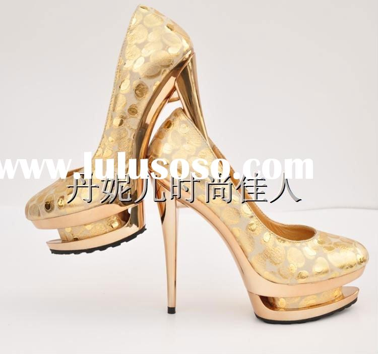 fashion double platform stiletto heels gold shoes