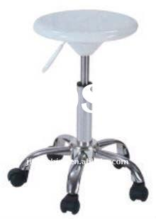 fiberglass barstool with round fiberglass seat and raised feet with casters