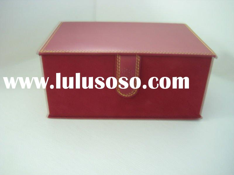 foldable paper box with leather and lint cover gift box