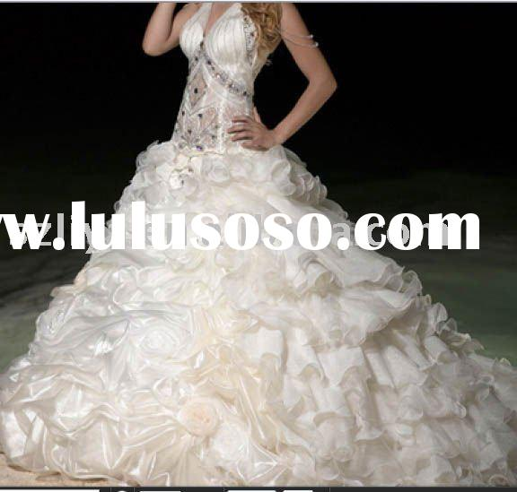 grandiose Chapel Train deep V beaded corset bodice Ball Gown 2011 New Wedding dresses with puffy mul