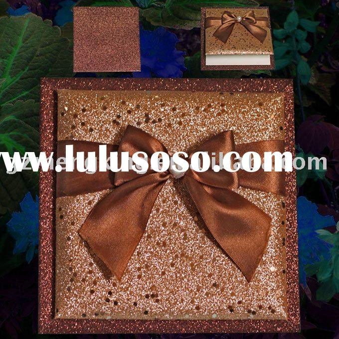 greeting card with wood board covering shining cloth and lovely pearl ribbon bow-T193